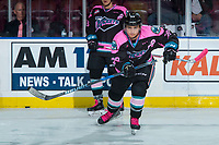 KELOWNA, CANADA - OCTOBER 21: Leif Mattson #28 of the Kelowna Rockets warms up against the Portland Winterhawks on October 21, 2017 at Prospera Place in Kelowna, British Columbia, Canada.  (Photo by Marissa Baecker/Shoot the Breeze)  *** Local Caption ***