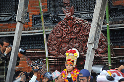 September 15, 2016 - Kathmandu, Nepal - Devotees carrying God 'Bhairab' for the chariot pulling festival on the third day of Indra Jatra Festival celebrated at Basantapur Durbar Square, Kathmandu. Devotees celebrated the god of rain 'Indra' for 8 days in Kathmandu. (Credit Image: © Narayan Maharjan/Pacific Press via ZUMA Wire)