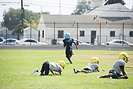 """Cerritos Vypers defenders lay in wake as Maxwell """"Bunchie"""" Young, 10, scores one of his three touchdowns three during his team's 31-0 win."""