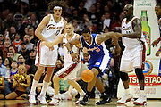 Jan 31, 2010; Cleveland, OH, USA; Cleveland Cavaliers forward Anderson Varejao (17) guard Anthony Parker (18) and center Shaquille O'Neal (33) all fight Los Angeles Clippers center DeAndre Jordan (9) for a loose ball during the fourth quarter at Quicken Loans Arena. The Cavaliers beat the Clippers 114-89. Mandatory Credit: Jason Miller-US PRESSWIRE