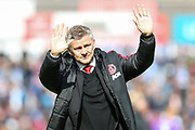 Manchester United Manager, Ole Gunnar Solskjaer waves to the Manchester United fans after the Premier League match between Huddersfield Town and Manchester United at the John Smiths Stadium, Huddersfield, England on 5 May 2019.