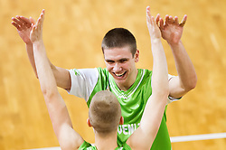 Luka Rupnik of Slovenia and Jaka Brodnik of Slovenia celebrate after winning the basketball match between National teams of Turkey and Slovenia in Qualifying Round of U20 Men European Championship Slovenia 2012, on July 17, 2012 in Domzale, Slovenia. Slovenia defeated Turkey 72-71 in last second of the game. (Photo by Vid Ponikvar / Sportida.com)
