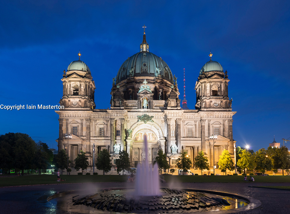 Night view of Berlin Cathedral or Dom on Museum Island or Museumsinsel In Berlin Germany