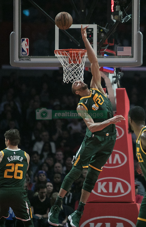 January 16, 2019 - Los Angeles, California, United States of America - Rudy Gobert #27 of the Utah Jazz tries to block a shot during their NBA game with the Los Angeles Clippers on Wednesday January 16, 2019 at the Staples Center in Los Angeles, California. Clippers lose to Jazz, 129-109. JAVIER ROJAS/PI (Credit Image: © Prensa Internacional via ZUMA Wire)