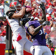 TAMPA, FL - OCTOBER 12: Wide Receiver Vincent Jackson #83 of the Tampa Bay Buccaneers during the game against the Baltimore Ravens at Raymond James Stadium on October 12, 2014, in Tampa, Florida. The Buccaneers lost 48-17. (photo by Mike Carlson/Tampa Bay Buccaneers)