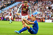 Aston Villa midfielder Jack Grealish (10) accuses Everton forward Richarlison (7) of diving in the penalty box during the Premier League match between Aston Villa and Everton at Villa Park, Birmingham, England on 23 August 2019.