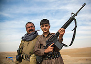 Iraq, Kurdistan, Kirkuk, kurdish general and his son on the frontline
