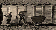 Miners working in a timbered level. From 'Underground Life; or, Mines and Miners' by Louis Simonin (London, 1869). Wood engraving.