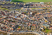 Nederland, Friesland, Gemeente Sudwest-Fryslan, 16-04-2012; Bolsward (Boalsert), centrum met Broerekerk (rechts, met glazen dak), Stadhuis en Sint-Franciscuskerk (midden, baksteen)..Frisian city of Bolsward..luchtfoto (toeslag), aerial photo (additional fee required).foto/photo Siebe Swart