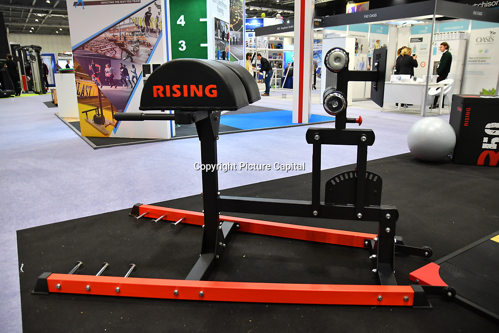 Rising weight lifting equipment from China at Elevate 2019 on 8 May 2019, at Excel London, UK.