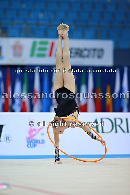 "Berniak Weronika during hoop routine at the International Tournament of rhythmic gymnastics ""Città di Pesaro"", 01 April, 2016. Weronika is a Polish individualistic gymnast, born onNovember 14, 2002 in Krakow.<br />