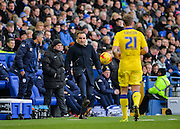 Sheffield Wednesday Manager Carlos Carvalhal flicks the ball back to Leeds United Defender Charlie Taylor during the Sky Bet Championship match between Sheffield Wednesday and Leeds United at Hillsborough, Sheffield, England on 16 January 2016. Photo by Adam Rivers.