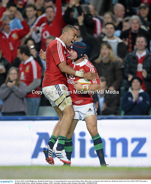 15 June 2013; Leigh Halfpenny, British & Irish Lions, is congratulated by team-mate Simon Zebo, left, after scoring his side's third try. British & Irish Lions Tour 2013, NSW Waratahs v British & Irish Lions, Allianz Stadium, Sydney, NSW, Australia. Picture credit: Stephen McCarthy / SPORTSFILE