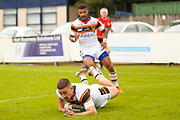 Bradford Bulls centre Vila Halafihi (26) scores a try to make the score 6-8 during the Kingstone Press Championship match between Swinton Lions and Bradford Bulls at the Willows, Salford, United Kingdom on 20 August 2017. Photo by Simon Davies.