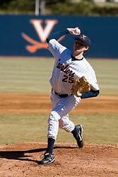 Virginia Cavaliers pitcher Jacob Thompson (25) pitched against Bucknell.  The Virginia Cavaliers Baseball Team defeated the Bucknell University Bisons 3-0 in the first game of a doubleheader at Davenport Field in Charlottesville, VA on February 24, 2007.