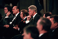 President Bill Clinton and other NATO leaders gather in Washington, DC at the opening ceremonies of the summit marking the 50th anniversary of the Atlantic alliance. Second from left is French president Jacques Chirac and beside Clinton is the Czech Republic's Vaclav Havel, April 23, 1999. (Photo by Roger M. Richards)