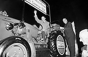 A welcome for World's Champion Ploughman, Charlie Keegan, at Dublin Airport on his arrival from Austria..04.10.1964