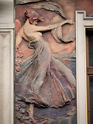 Ornate Art Nouveau detail on building in Nove Mesto Prague in Czech Republic