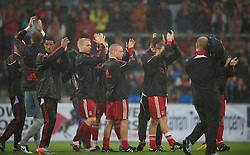 ALTACH, AUSTRIA - Saturday, July 17, 2010: Liverpool's Jay Spearing and players applaud the fans after their first preseason match of the 2010/2011 season, against Al-Hilal Al Saudi FC, had to be called off due to torrential rain and a waterlogged pitch at the Cashpoint Arena. (Pic by David Rawcliffe/Propaganda)