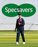 Jack Leach of England who wears glasses in front of the Specsavers advertising board during the warm up ahead of the International Test Match 2019 match between England and Australia at Lord's Cricket Ground, St John's Wood, United Kingdom on 18 August 2019.