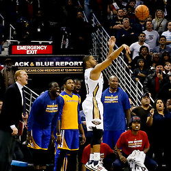 Nov 26, 2013; New Orleans, LA, USA; New Orleans Pelicans shooting guard Eric Gordon (10) shoots and misses on the final shot of the fourth quarter against the Golden State Warriors in a game at New Orleans Arena. The Warriors defeated the Pelicans 102-101. Mandatory Credit: Derick E. Hingle-USA TODAY Sports