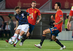 September 11, 2018 - Elche, U.S. - ELCHE, SPAIN - SEPTEMBER 11: Ivan Rakitik midfielder of Croatia shoot the ball front of Sergio Busquets midfielder of Spain during the UEFA Nations League A Group four match between Spain and Croatia on September 11, 2018, at Estadio Manuel Martinez Valero in Elche, Spain. (Photo by Carlos Sanchez Martinez/Icon Sportswire) (Credit Image: © Carlos Sanchez Martinez/Icon SMI via ZUMA Press)