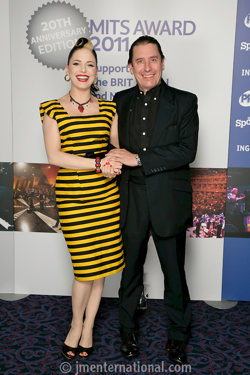 Imelda May and Jools Holland, the 2011 MITs Award. Held at the Grosvenor Hotel London in aid of Nordoff Robbins and the BRIT School. Monday, Nov.7, 2011