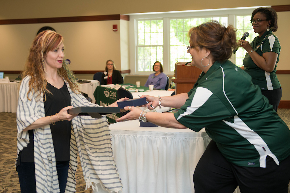 Colleen Carow, Senior Director of Communications for the Russ College of Engineering and Technology, recieves the Excellence in Marketing and Branding - Event award at the Campus Communicator Network Expo in Nelson Commons on Wednesday, May 11, 2016. © Ohio University / Photo by Kaitlin Owens