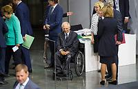 DEU, Deutschland, Germany, Berlin, 24.07.2019: Bundestagspräsident Wolfgang Schäuble (CDU) bei der Sondersitzung des Bundestags im Paul-Löbe-Haus anlässlich der Vereidigung der Bundesverteidigungsministerin.