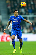 Nathaniel Mendez-Laing (#19) of Cardiff City controls the ball during the Premier League match between Newcastle United and Cardiff City at St. James's Park, Newcastle, England on 19 January 2019.
