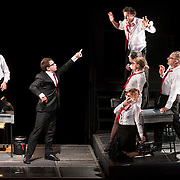 October 3, 2012 - Brooklyn, NY : The cast, including Pascal Vuillemot (in suit), performs in a technical rehearsal of the Théâtre de la Ville's production of French-Romanian playwright Eugène Ionesco's 1959 play 'Rhinocéros' at BAM in Brooklyn on Wednesday night. The traveling production will perform from Oct. 4-6, 2012. CREDIT: Karsten Moran for The New York Times