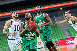 Ryan Jamar Boatright of KK Cedevita Olimpija with Mikael Hopkins of KK Cedevita Olimpija and Isaia Cordinier of Nanterre 92 during EuroCup basketball match between teams KK Cedevita Olimpija and Nanterre 92 in Round 4, Arena Stozice, 23. October, Ljubljana, Slovenia. Photo by Grega Valancic / Sportida