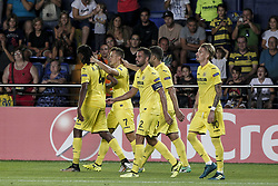 September 14, 2017 - Villarreal, Spain - 07 Denis Cheryshev of Villarreal CF (2L) celebrate after scoring the 3-1 goal with his teammate   during the UEFA Europa League Group A football match between Villarreal CF vs FC Astana  at La Ceramica stadium in Villarreal  on September 14, 2017. (Credit Image: © Jose Miguel Fernandez/NurPhoto via ZUMA Press)