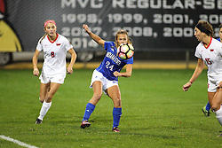 04 November 2016:  Kate Del Fava(8) & Maddie Schaak(24) during an NCAA Missouri Valley Conference (MVC) Championship series women's semi-final soccer game between the Indiana State Sycamores and the Illinois State Redbirds on Adelaide Street Field in Normal IL