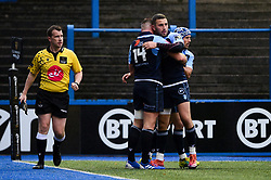 Owen Lane of Cardiff Blues celebrates scoring his sides first try of the game  - Mandatory by-line: Ryan Hiscott/JMP - 05/10/2019 - RUGBY - Cardiff Arms Park - Cardiff, Wales - Cardiff Blues v Edinburgh Rugby - Guinness Pro 14
