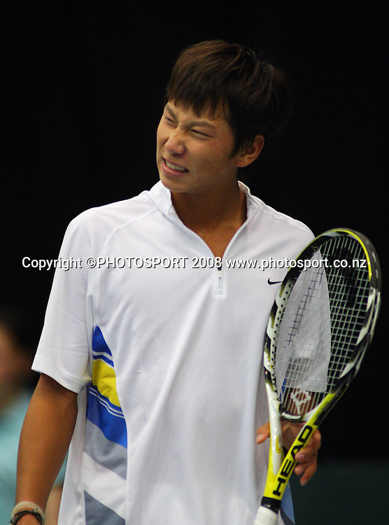 Yan Bai winces after being broken in the second set against Jose Statham..<br /> Davis Cup Tennis - New Zealand v China at TSB Stadium, New Plymouth, New Zealand. Wednesday, 17 September 2008. Photo: Dave Lintott/PHOTOSPORT