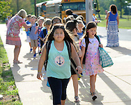 Students arrive on the first day of classes at West Rockhill Elementary School Monday August 29, 2016 in West Rockhill Township, Pennsylvania.  (Photo by William Thomas Cain)