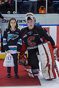 KELOWNA, CANADA - MARCH 14:  Third star of the Game Taylor Gauthier #35 of the Prince George Cougars at the Kelowna Rockets game on March 14, 2018 at Prospera Place in Kelowna, British Columbia, Canada.  (Photo By Cindy Rogers/Nyasa Photography,  *** Local Caption ***