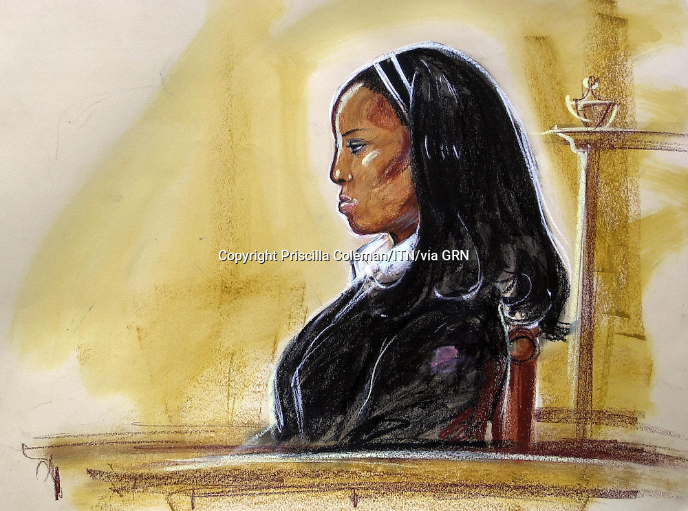 ©Priscilla Coleman ITV News 06.06.06.*Supplied by: Photonews Service Ltd Old Bailey.Pic shows: Kemi Adeyola, 18, in the dock at the Old Bailey where she is on trial for the murder of Anne Mendel, 84. Kemi is alleged to have stabbed Mendel at her Golders Green home after writing a detailed murder plan. It is said that she had choosen to target ann elderly, wealthy and defenceless victim by tricking her way into the home and killing her before stealing £3 million. See story.Illustration: Priscilla Coleman ITV News