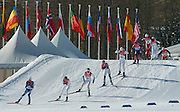 2/26/06 -- The 2006 Torino Winter Olympics -- Pragelato , Italy. -- Cross-Country Men's 50 KM -- .Competitors, headed by eventural winner Giorgio di Centa of Italy (10) during the men's 50 km cross country race..Photo by Scott Sady, USA TODAY staff.