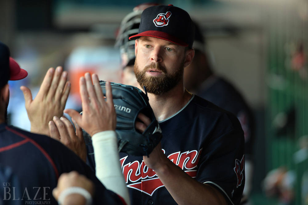 Jul 31, 2016; Cleveland, OH, USA; Cleveland Indians starting pitcher Corey Kluber (28) celebrates after throwing seven shutout innings against the Oakland Athletics at Progressive Field. The Indians won 8-0. Mandatory Credit: Ken Blaze-USA TODAY Sports