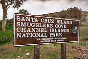 Sign at Smugglers Cove, Santa Cruz island, Channel Islands National Park, California USA