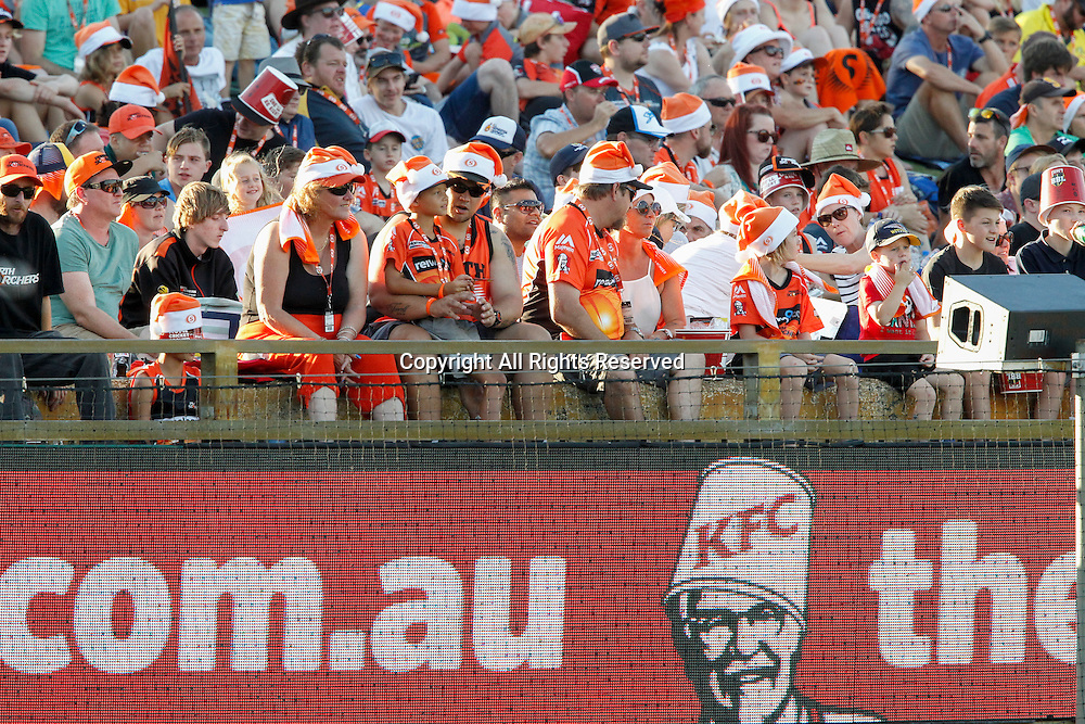 23.12.2016. WACA Ground, Perth, Australia. BBL Cricket League. Perth Scorchers versus Adelaide Strikers. Christmas hats were the order of the day for the first BBL game in Perth 2 days before Christmas Day.