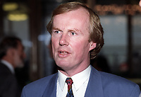 David Davies, broadcaster, journalist, BBC, television, radio, UK, later executive director, (English) Football Association, 19920905DD.<br /> <br /> Copyright Image from Victor Patterson, 54 Dorchester Park, <br /> Belfast, UK, BT9 6RJ<br /> <br /> t1: +44 28 9066 1296 (from Rep of Ireland 048 9066 1296)<br /> t2: +44 28 9002 2446 (from Rep of Ireland 048 9002 2446)<br /> m: +44 7802 353836<br /> <br /> e1: victorpatterson@me.com<br /> e2: victorpatterson@gmail.com<br /> www.victorpatterson.com<br /> <br /> Please see my Terms and Conditions of Use at www.victorpatterson.com. It is IMPORTANT that you familiarise yourself with them.<br /> <br /> Images used on the Internet must be visibly watermarked i.e. © Victor Patterson<br /> within the body of the image and copyright metadata must not be deleted. Images <br /> used on the Internet have a size restriction of 4kbs and will be chargeable at current<br />  NUJ rates unless agreed otherwise.<br /> <br /> This image is only available for the use of the download recipient i.e. television station, newspaper, magazine, book publisher, etc, and must not be passed on to any third <br /> party. It is also downloaded on condition that each and every usage is notified within 7 days to victorpatterson@me.com<br /> <br /> The right of Victor Patterson to be identified as the author is asserted in accordance with The Copyright Designs And Patents Act (1988). All moral rights are asserted.