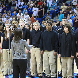 08 February 2009:  The Ponchatoula High School Choir performs the National Anthem prior to tip off of a NBA game between the Minnesota Timberwolves and the New Orleans Hornets at the New Orleans Arena in New Orleans, LA.