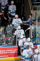 KELOWNA, CANADA - MARCH 11: The Kelowna Rockets exit the ice against the Kamloops Blazers on March 11, 2016 at Prospera Place in Kelowna, British Columbia, Canada.  (Photo by Marissa Baecker/Shoot the Breeze)  *** Local Caption ***