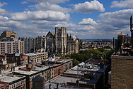 Cathedral of Saint John The Divine seen from a rootop in Morningside Heights in Manhattan.
