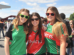 Mayo supporters Mary Dunne, Mary Lavin and Louise Carney from Balla pictured at Pearse Stadium for the Connacht Championship semi-final.<br /> Pic Conor McKeown