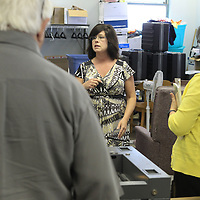 Kim Hanna, Tupelo City Clerk, talks with precinct workers at the Circuit Clerk's Office at the Lee County Justice Center, prior to voting machine testing in advance of next week's primary election in Tupelo.