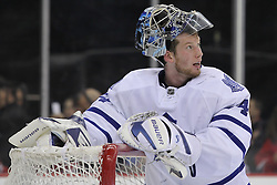 Mar 23; Newark, NJ, USA; Toronto Maple Leafs goalie James Reimer (34) during the second period of their game against the New Jersey Devils at the Prudential Center.